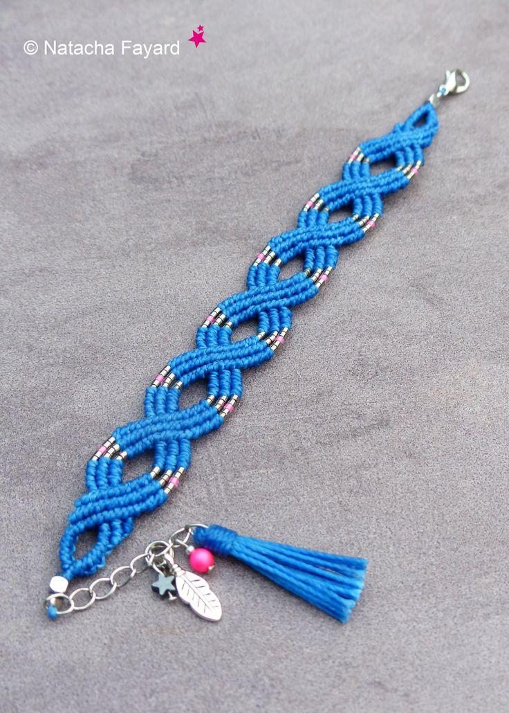 Micro macrame boho chic bracelet. Cobalt blue bracelet, miyuki. Tassel and feather charms. Neon pink pearly Swarovski bead.
