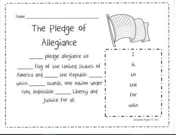 88 best sight words images on pinterest english language for Pledge of allegiance coloring page