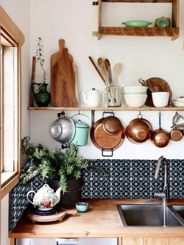 Kitchen and Bathroom Splashback – Removable Vinyl Wallpaper – Arabelle Black – Peel & Stick