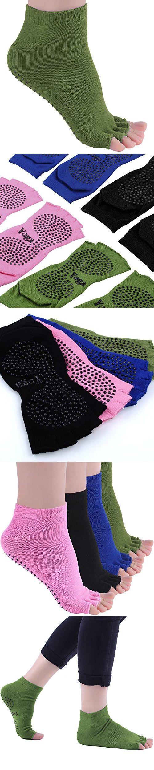 DAS Leben Yoga Socks Non Skid Running Half Toe Socks for Women 2 Pairs (Dark green)