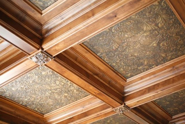 Exquisite coffered ceiling with Lincrusta textured vinyl & faux finish by Theresa Fike...