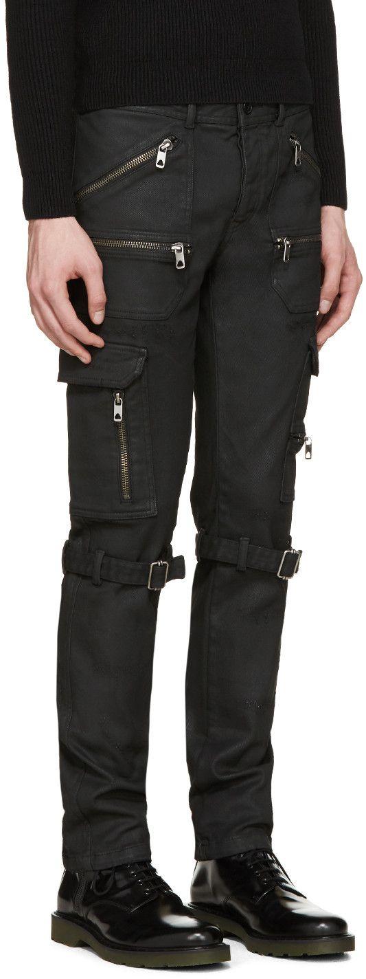 Diesel Black Gold Black Coated & Distressed Biker Jeans