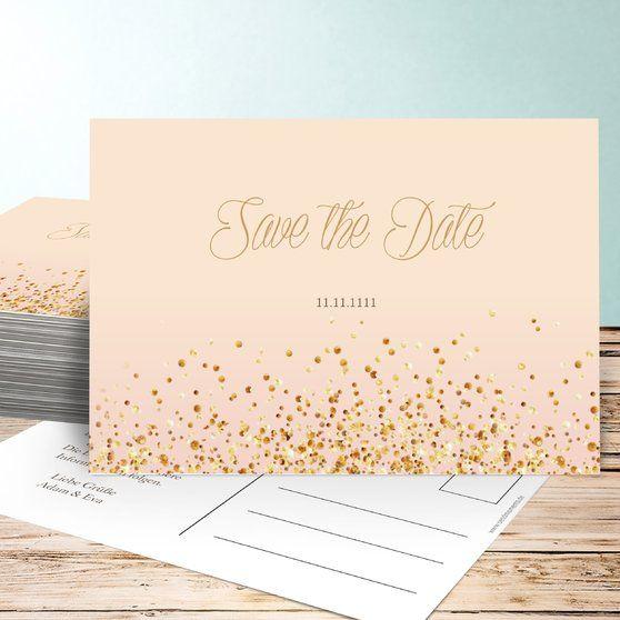 Save The Date Karten Geflitter Design Hochzeit Papeterie