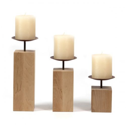 Metal and alder wood decorative candlesticks. Made by Neo-Spiro.