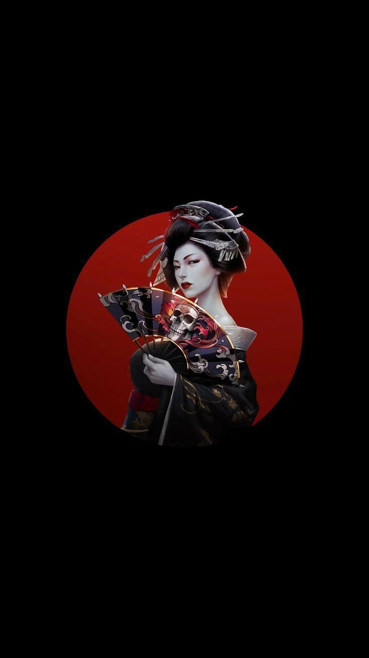 Amoled Japan Artwork Women Simple Background Asian Dark Hair