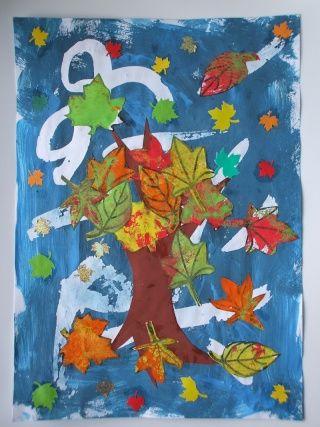podzimní strom - koláž + šablona