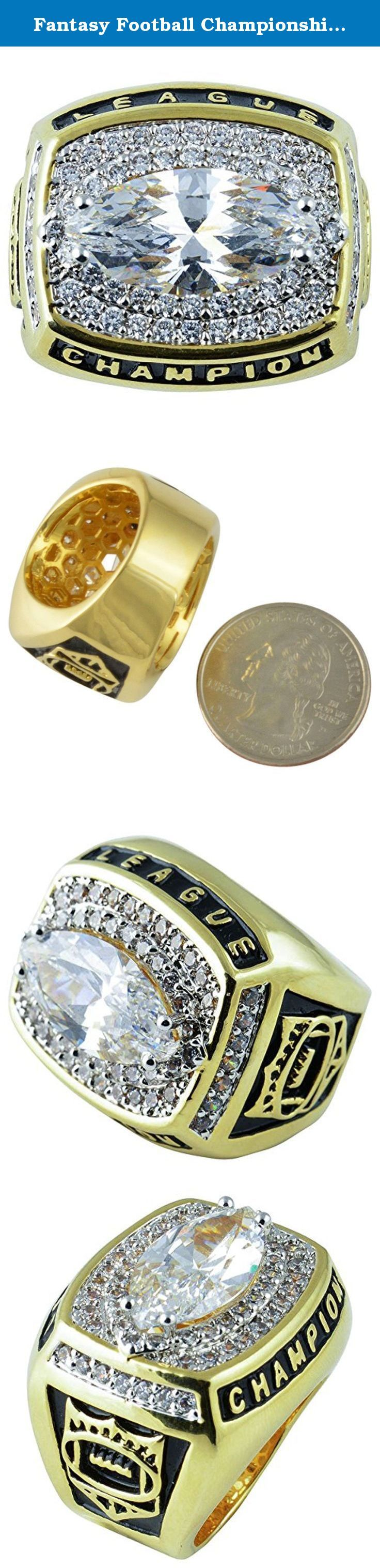 "Fantasy Football Championship Trophy Ring Gold Plate & CZ Size 11. Measurements are 1"" from the widest points."