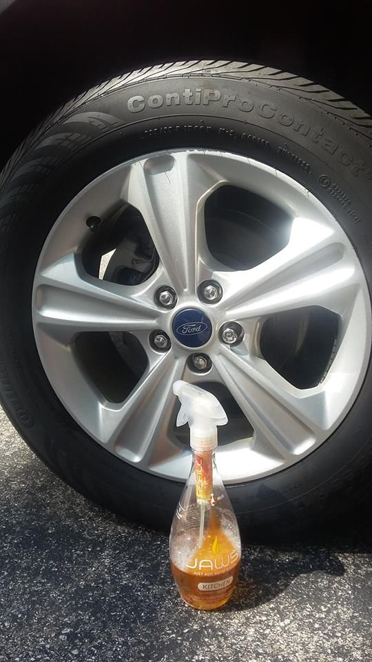 Want to make ALL parts of your car sparkle & shine like new?? Try JAWS Kitchen Cleaner & Degreaser on the tires. It does the trick!  Other outdoor uses for JAWS Kitchen Cleaner & Degreaser include patio furniture, boats, recreational vehicles, grills & barbecues!  Try it today and save money and plastic with the JAWS Refill - Reload - Reuse System. #ecofriendly http://www.jawscleans.com/product/kitchen-cleaner-degreaser/
