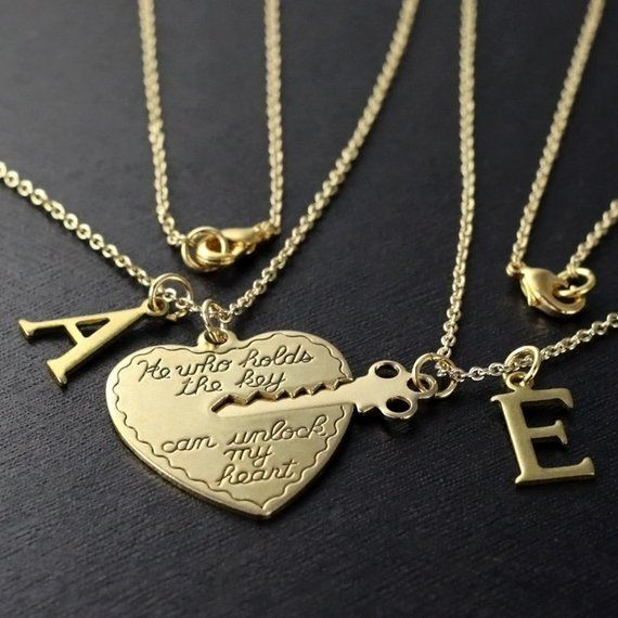 Hand Cut Coin Key To My Heart Necklaces with Custom Key Initial and Name Couples or BFF Relationship Gifts