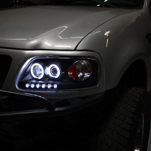1997 2003 F150 F 150 Expedition Ccfl Halo Projector Headlights Lights 97 03 Sets Black Projector Headlights Black Smoke F150