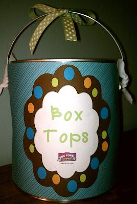 Very Cute Box Tops For Education Bucket! Including Label.. Can also use this for several different projects.....just rename the bucket....
