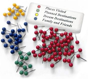 Push pins for personalized travel map