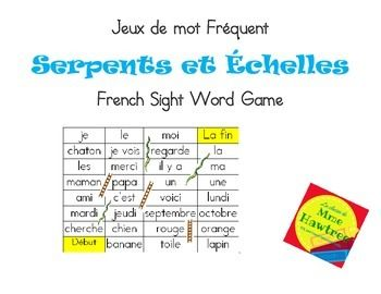 Play Snakes and Ladders and practice sight words at the same time.This is a great center activity and can also be sent home for home reading practice. Resource includes 5 pre-filled game boards and one blank game for you fill in or get students to fill them in for each other.More French Immersion Resources:La classe de Mme Hawtree