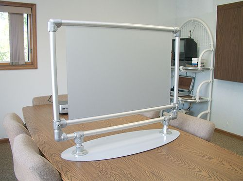 Portable Projector Screen Stand made from Kee Lite Kee Klamps