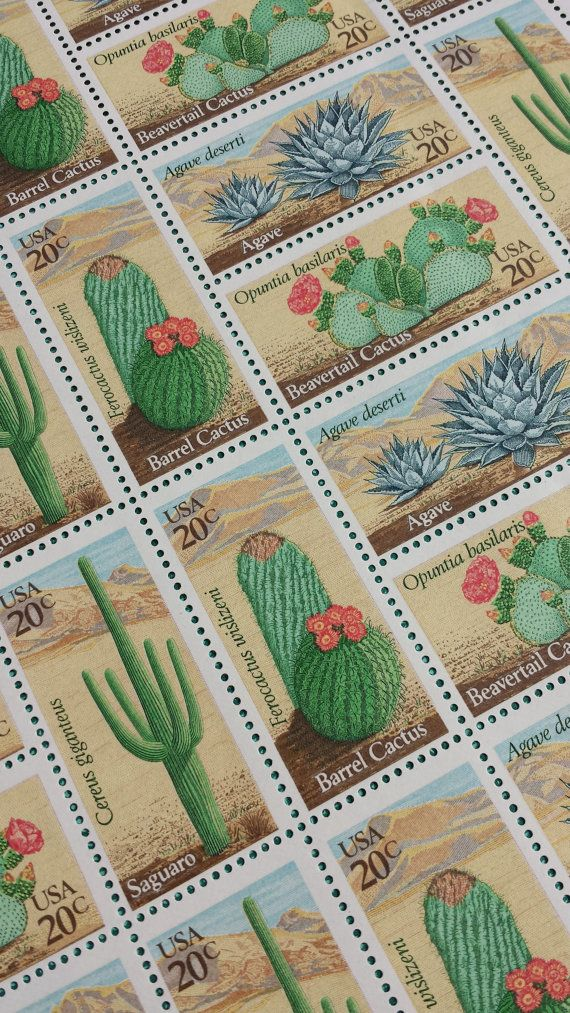 40 Cactus Stamps, Desert plants or Cacti Unused US Vintage Postage, Face Value 20 cents each
