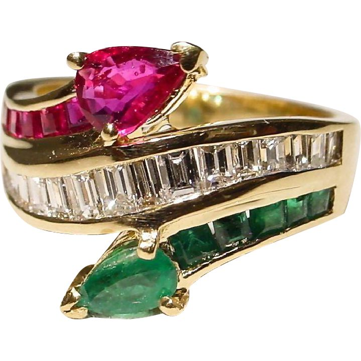 Multi-Gem Ruby Emerald Diamond Ring 18 KT Y-Gold - Classic Bypass - Vintage '70s  -- found at www.rubylane.com #vintagebeginshere