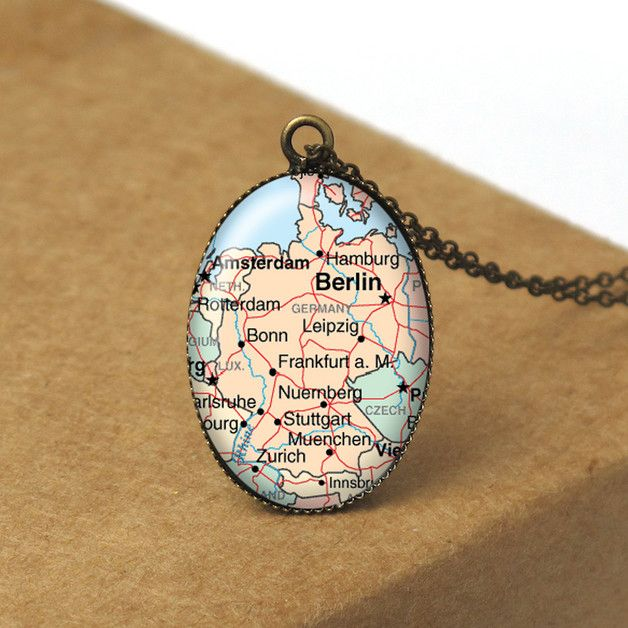 Map Necklace, Germany, Berlin, Map Pendant, N402