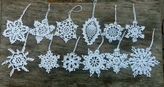 12 Crochet Snowflakes Christmas Ornaments Hanging by blertadoily