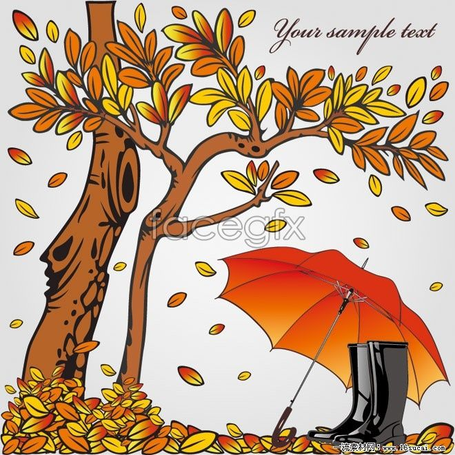 Cartoon leaf umbrella Illustrator vector