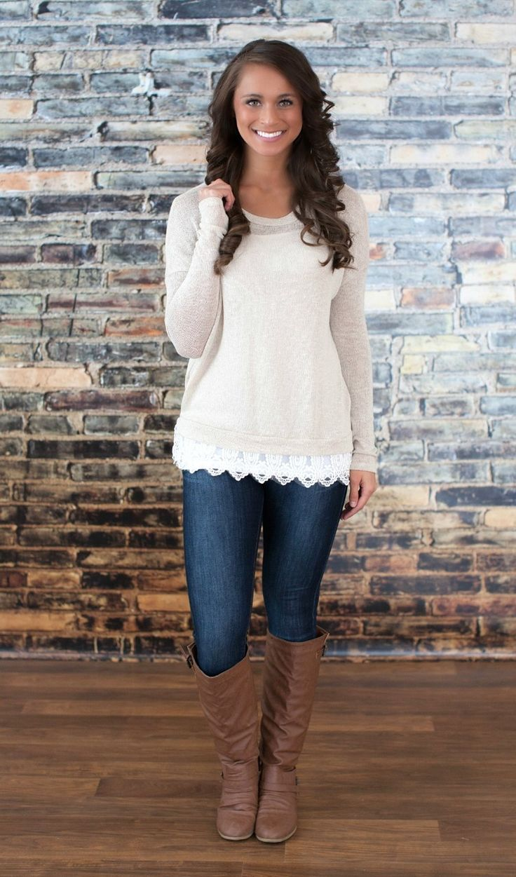 The Pink Lily Boutique - Oatmeal Lace Sweater, $36.00 I like the style of this sweater with lace on the bottom.
