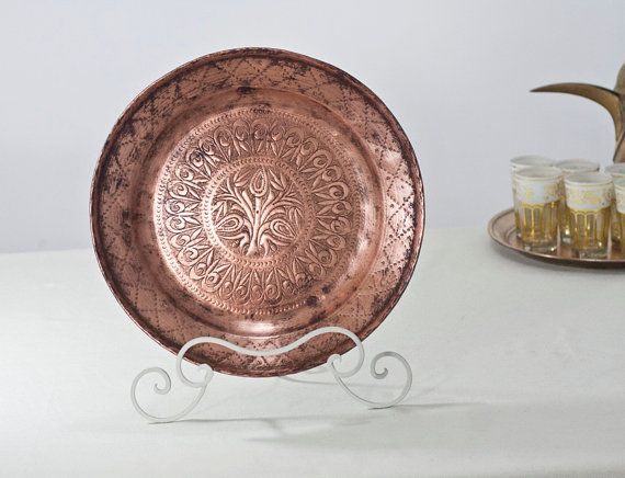 Copper Fruit Bowl Mediterranean Decor: Decorative Ornate Large Bowl, Metal Oriental Dish, Home Decor, Copper Wall Art, Boho Home Decor