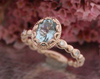 This unique morgainte ring is crafted in solid 14k rose gold with a 8x6mm oval cut natural morganite set into a gorgeous floral basket setting on top of a diamond pebble band. Breathtakingly elegant and beautiful. *** The listing price is for ONE engagement ring only ***  ............................................  ** Matching Wedding Band http://www.etsy.com/listing/186363136/pebble-diamond-wedding-band-in-14k-rose  ** Bridal Ring Set: https://www.etsy.co...