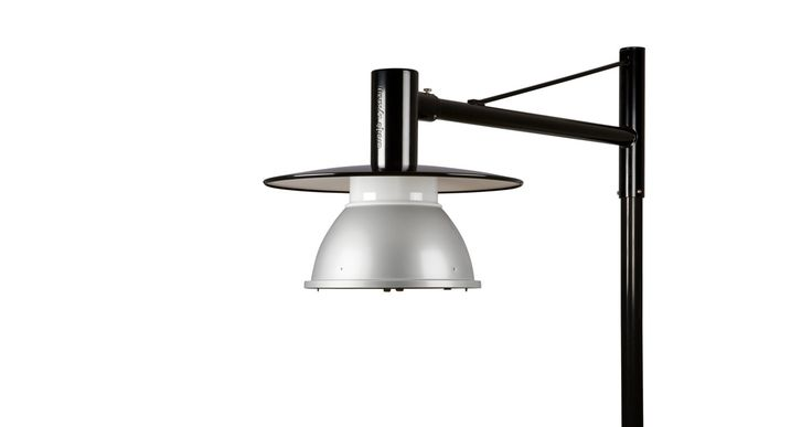 Stockholm II post has body and shades made of aluminium and features top part in black and the bottom in aluminium-grey
