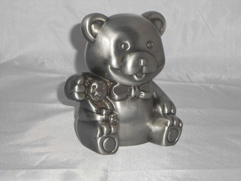 Pewter Bear Money box – Purple Clover Photo Frames and Giftware