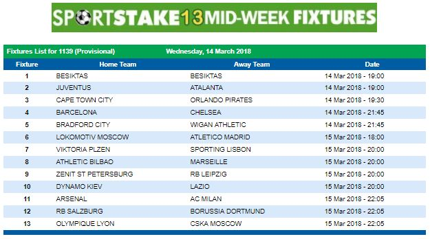 #SportStake13 Midweek Fixtures - 14 March 2018  https://www.playcasino.co.za/sportstake-mid-week-fixtures.html