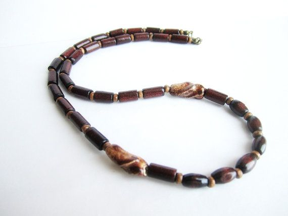 Mens wooden necklace wooden necklace ethnic by Bravemenjewelry