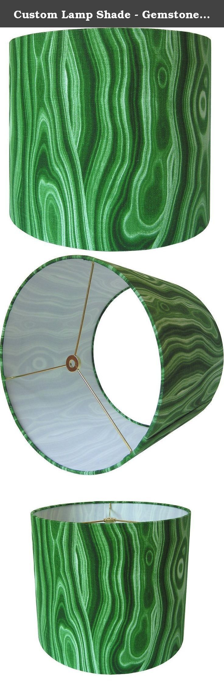 "Custom Lamp Shade - Gemstone Lampshade - Malachite Lamp Shade - Malakos by Robert Allen for Dwell Studio - Green Lamp Shade - Made to Order 9"" to 16"" Diameters. Custom lamp shade, constructed by hand from raw materials and covered with Robert Allen's Malakos in Malachite. SPECS: - FABRIC: Robert Allen's Malakos in Malachite is a cotton fabric with an emerald green, gemstone design. - FITTING: Standard washer/spider fitting to be used with harp and finial. - SIZE: Please use the drop down..."