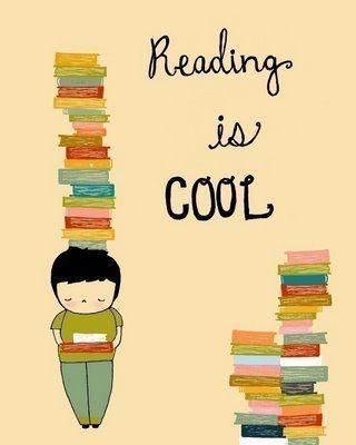 digital art, boy reading poster, reading is cool, 8x10, nursery art, kids