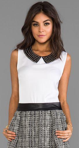 Studded collar blouse & tweed skirt