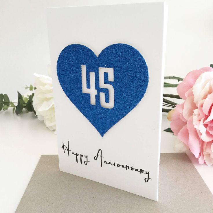 45th wedding anniversary card sapphire anniversary red