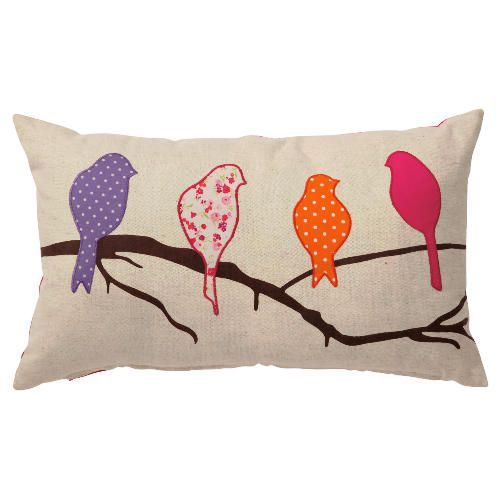 birds applique cushion