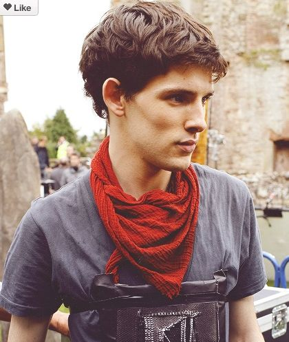 "Colin Morgan - how do those cheekbones even exist? I'd have to ask the guy from Kadie Elder's ""First Time He Kissed A Boy"" Video. He has those cheekbones. He's also tall, skinny, and jug eared. Oh yea, his hair is styled much like Colin in ""Merlin."" https://youtu.be/et8R5fZOARo"