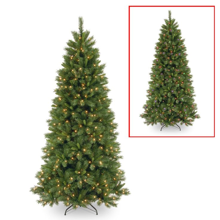 National Tree LVP7-322LD-75 7 1/2' Lehigh Valley Pine Slim Hinged Tree with 450 Low Voltage Dual LED Lights with 9 Function Footswitch