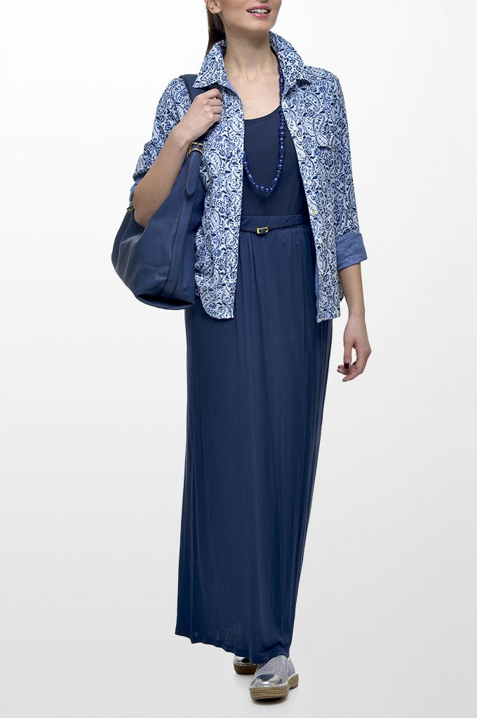 Sarah Lawrence - long sleeve printed shirt, sleeveless cotton top, maxi skirt with elasticated waist, long layer necklace.
