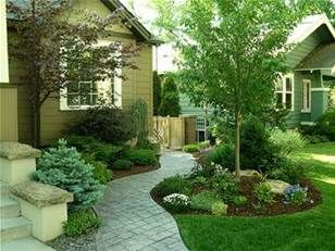 for side yard - planting on both sides of a sidewalk going down to the back yard