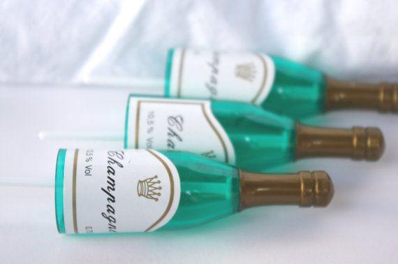 Champagner Cupcake Toppers--Silvester--Herzlichen Glückwunsch-Verlobung-Hochzeit--10ct