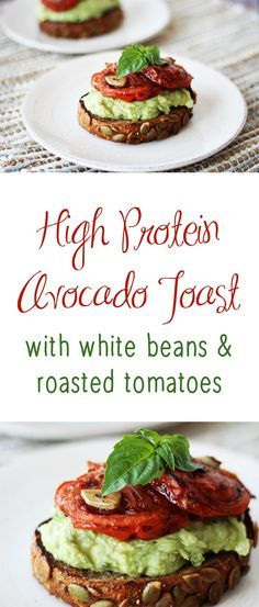 This high protein avocado toast with white beans and roasted tomatoes is a delicious gluten free, vegan breakfast or snack for any time of day.