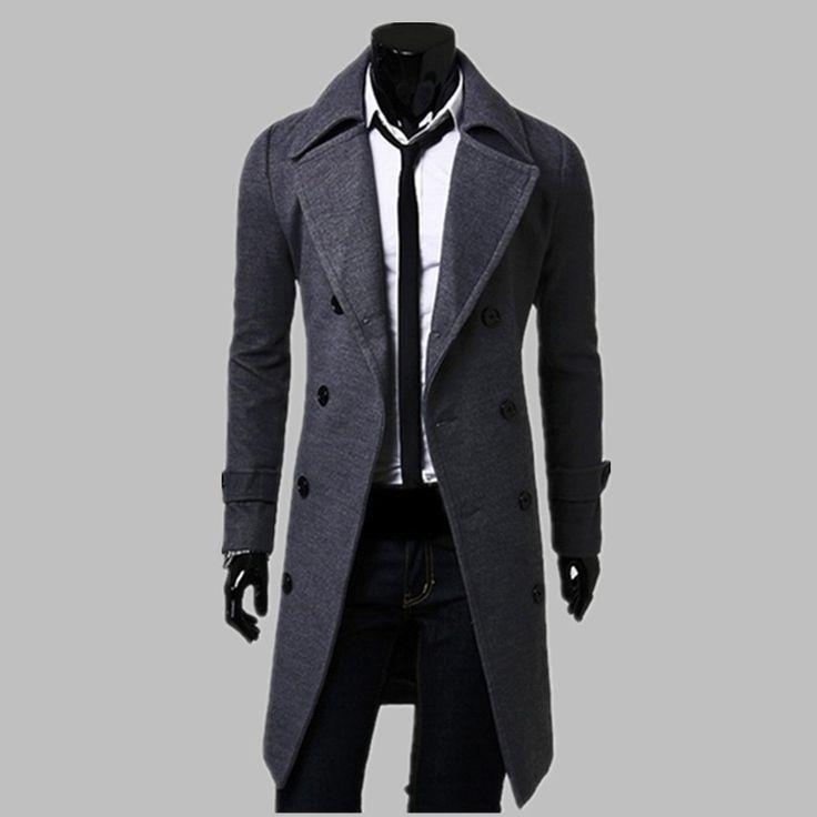 Aliexpress.com: Comprar Nueva moda Trench Coat hombres abrigo largo invierno famosa marca para hombre abrigo doble de pecho Slim Fit gabardina y el tamaño de de cobre recubiertos fiable proveedores en New Fashion Trend Store