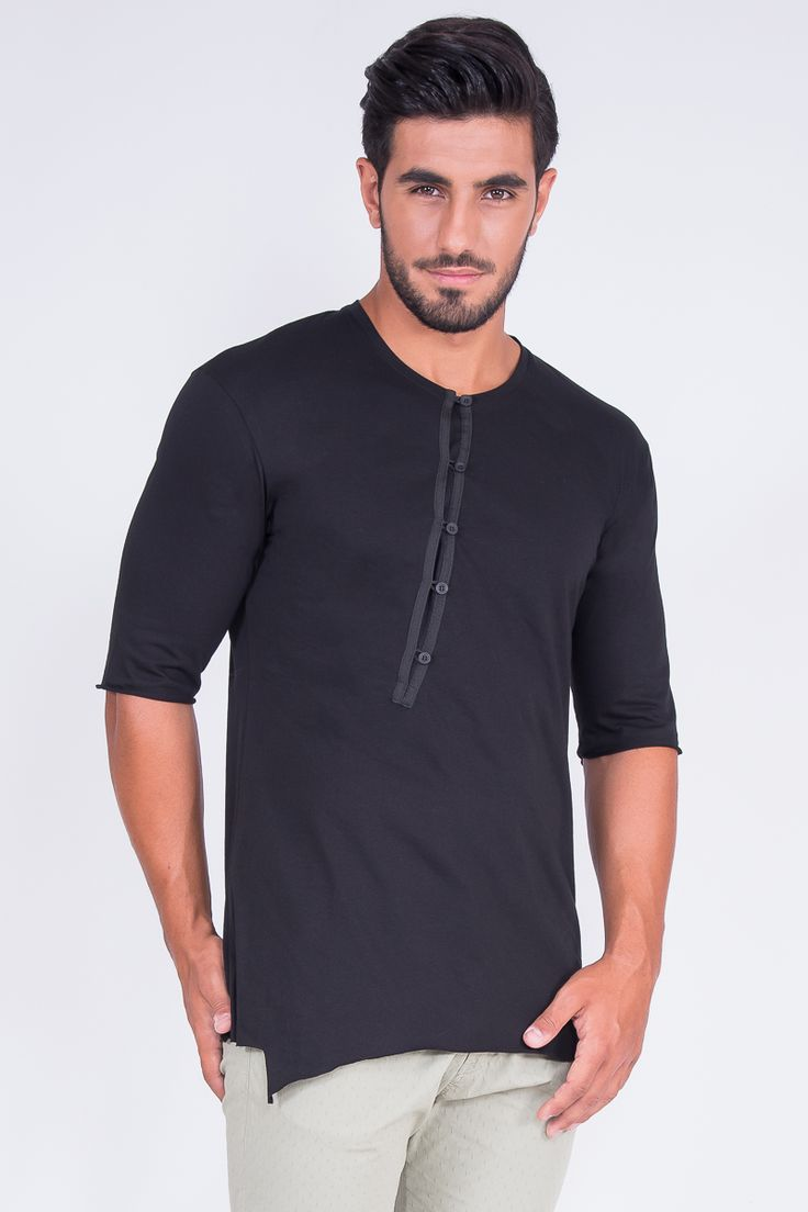 Longline T-Shirt In Button Placket