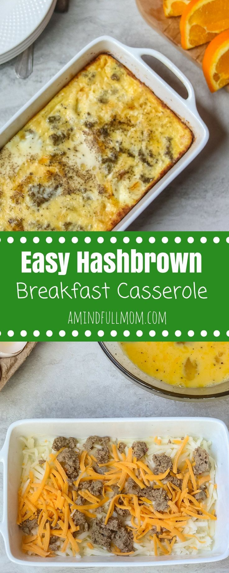 Easy Hashbrown Breakfast Casserole: An easy breakfast casserole is made with frozen hashbrowns, eggs, sausage and cheese. This will become your go-to casserole for breakfast--perfect for a feeding a crowd, allergy-friendly, and can be made the night before or the morning of. #breakfast #breakfastcasserole #eggcasserole #glutenfree via @amindfullmom