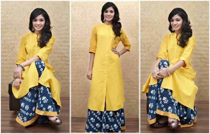 Play it simple with this bright yellow khadi-cotton kurta paired up with a blue cotton skirt! For more, Log onto http://zoyashi.com/search.html#q=yellow&page=1 #bright #sunshine #hope #enlightment #intellect #zoyashi #loveforethnics #rockthislookwithzoyashi