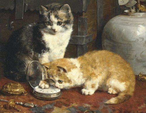 Gatitos que juegan con un reloj Colección privada