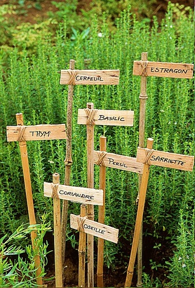 herbs..I like these identifying tags...but think calligraphy!