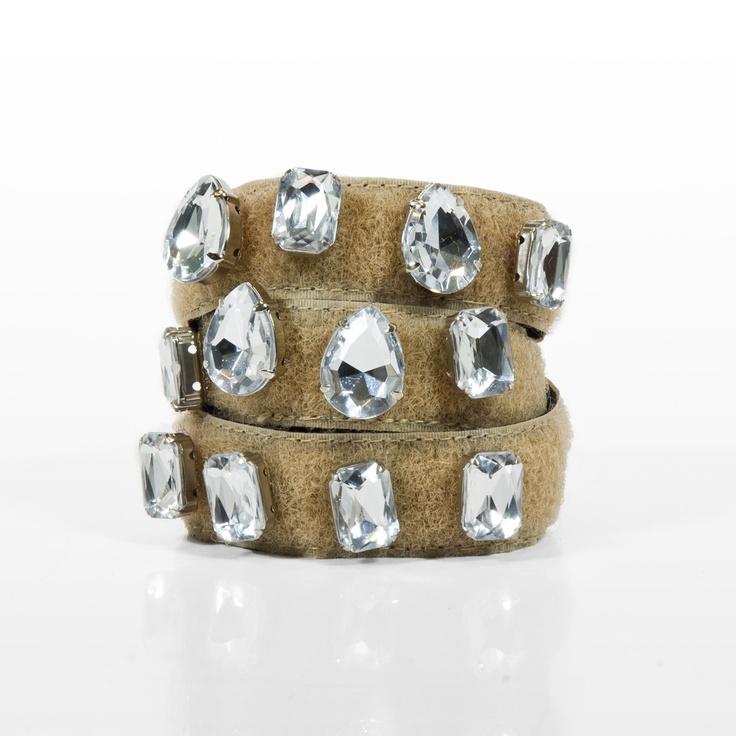 Bracciale  bracciale torchon in velcro foderato in gros grain con pietre con castone riposizionabili