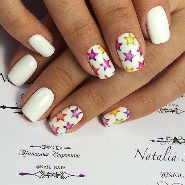 White base with Multi -Colored Stars by Natalia. As said earlier, white is the color that can go with every other color. This multi-colored stars on white base is the best example that you can customize according to your choice, mood and needs.