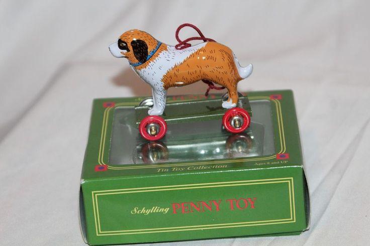 SCHYLLING PENNY TOY TIN COLLECTION DOG ST. BERNARD Christmas Ornament Retro new #SchyllingPennyToy